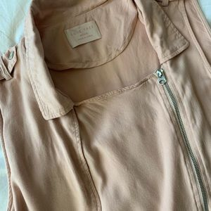 Love Tree Jackets & Coats - Blush Pink Long Collared Zipper Vest Size M
